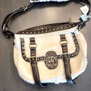 NEW Cynthia Rowley shearling and leather bag